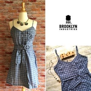 Brooklyn industries blue gingham belted dress